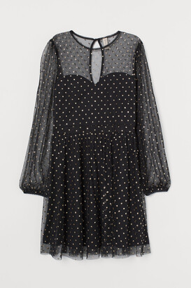 H&M Glitter-spotted mesh dress