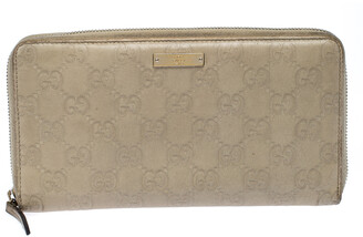 Gucci Beige Guccissima Leather Zip Around Wallet Organizer