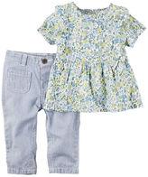 Carter's 2-Piece Floral Top & Hickory Stripe Denim Pant Set