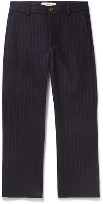 Séfr Navy Mike Wide-Leg Pinstriped Flannel Trousers