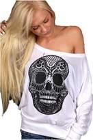 Venxic Women's Cool Skull Long Sleeve Tank Tops Plus Size Large