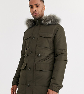 ASOS DESIGN Tall hooded parka with detachable faux fur trim in khaki