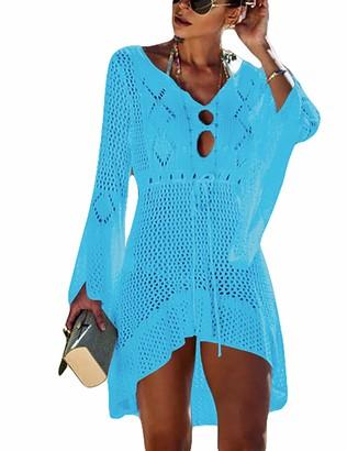 Bsubseach Women Crochet Beachwear Bikini Swimsuit Cover Up Long Sleeve Swimwear Short Dress