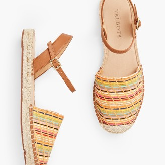 Talbots Izzy D'Orsay Espadrille Flats - Straw