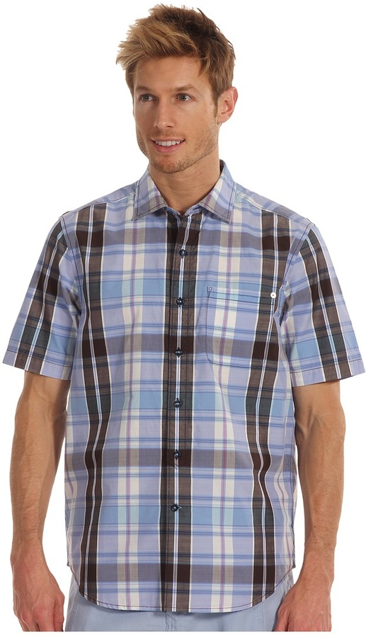 Tommy Bahama Pescadero Plaid S/S Shirt (Blue Calm) - Apparel