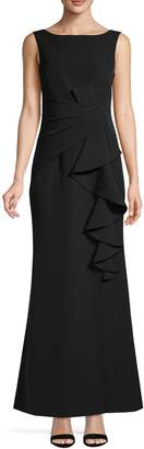 Eliza J Ruffled Boatneck Gown