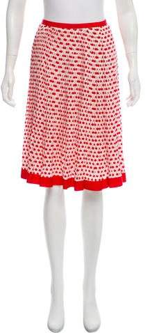 Oscar de la Renta Silk Cherry Printed Skirt w/ Tags
