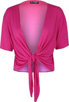 Be Jealous Women Knot Tie Wrap Shrug Cardigan Crop Top Cerise Plus Size (UK 24/26)