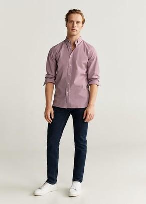 MANGO MAN - Slim fit gingham check shirt sky blue - XS - Men