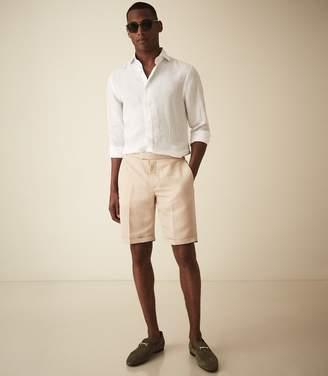 Reiss Cash - Linen Blend Tailored Shorts in Stone
