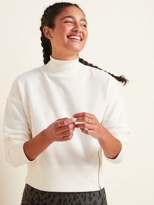 Old Navy Loose Mock-Neck Side-Zip Sweatshirt for Women