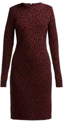 Givenchy Leopard Print-jacquard Midi Dress - Womens - Burgundy Multi