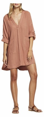Seafolly Women's V Neck Cover Up Dress with Roll Sleeves
