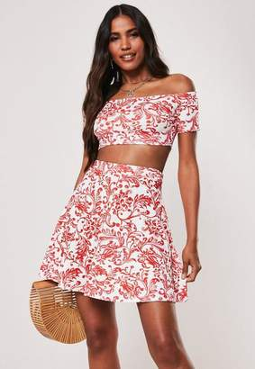 Missguided Red Porcelain Print Bardot Crop Top And Skater Mini Skirt Co Ord Set