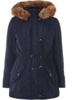 Dorothy Perkins Womens **Maternity Fur Trim Parka- Blue
