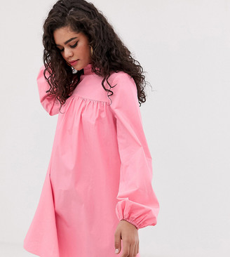 Fashion Union Tall high neck long sleeved shift dress-Pink