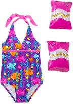 Jump N Splash Toddler Girls' Fab Fish Halter One Piece Swimsuit w/ Free Floaties (2T3T) - 8143048
