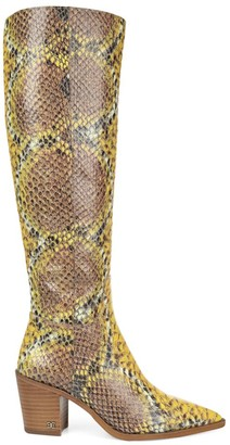 Sam Edelman Lindsey Knee-High Snakeskin-Embossed Leather Boots