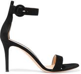 Gianvito Rossi Portofino Suede Sandals - Black