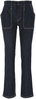 Chloé Contrast Stitching Denim Jeans