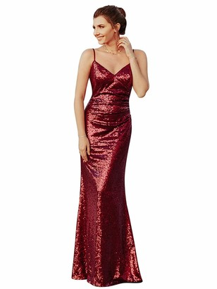 Ever Pretty Ever-Pretty Women's Sequins Sparkle V Neck A Line Sleeveless Floor Length Maxi Dresses for The Wedding Guest Burgundy 12UK