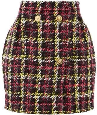 Versace Boucle Wool-blend Mini Skirt - Womens - Pink Multi