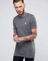 Asos Longline Muscle T-Shirt With Logo In Charcoal Marl