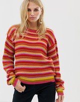 Pieces multi colored stripe waffle knit sweater