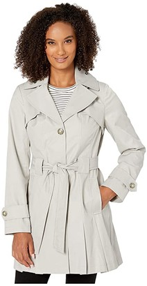 Via Spiga Single Breasted Hooded Belted Trench (Peony) Women's Coat