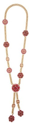Dolce & Gabbana Floral Bloom Enamel And Crystal Necklace - Womens - Pink