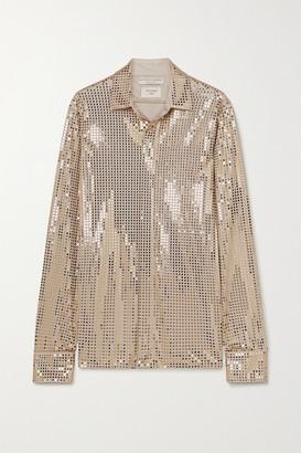 Bottega Veneta Sequin-embellished Satin-jersey Shirt - Gold