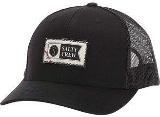 Salty Crew Topstitch Retro Trucker (Black) Caps