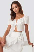 NA-KD Paola Maria X Front Tie Crochet Top White