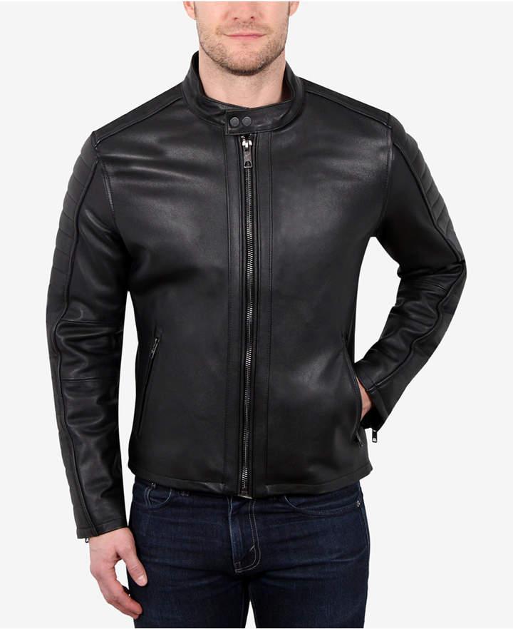 William Rast Men's Leather Moto Jacket