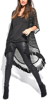Miss June Black Crochet Fringe Hi-Low Cardigan