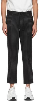 Dolce & Gabbana Black Wool Double-Pleated Pinstripe Trousers