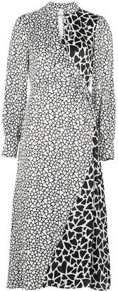 Olivia Rubin Nell Monochrome Heart-print Silk Midi Dress