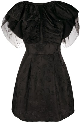 Alberta Ferretti Ruffled Front Jacquard Dress