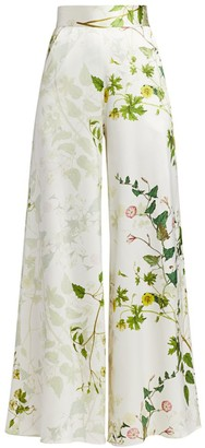 Adriana Iglesias Ana Wildflower Silk Wide-Leg Pants