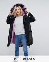Noisy May Petite Parka With Faux Fur Hood