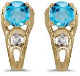 Direct-Jewelry 14k Yellow Gold Round Topaz And Diamond Earrings