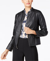 Alfani Petite Faux-Leather Jacket, Only at Macy's
