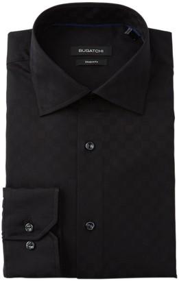 Bugatchi Tonal Check Shaped Fit Dress Shirt