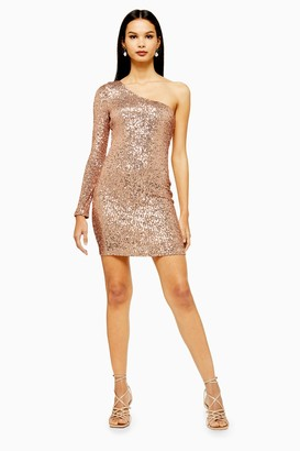 Topshop Womens Sequin One Sleeve Mini Dress - Rose Gold