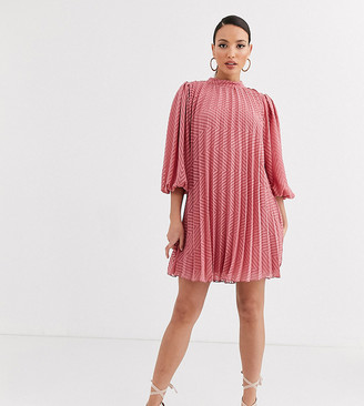 Asos DESIGN Tall pleated trapeze mini dress with puff sleeves in dobby