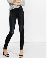 Express distressed black mid rise super soft jean legging