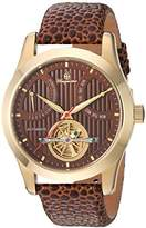 Burgmeister Men's Automatic Stainless Steel and Leather Casual Watch, Color:Brown (Model: BM224-205)