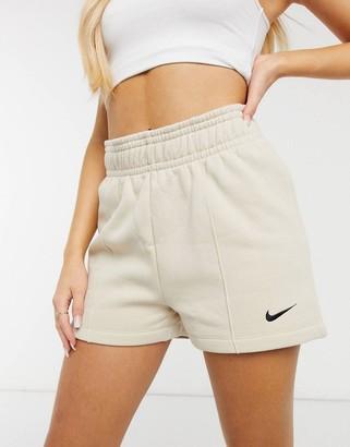 Nike fleece shorts in beige