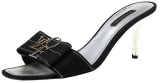 Louis Vuitton Black Canvas Logo Detail Slip On Sandals Size 37.5