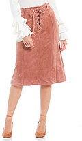 Gianni Bini Nina Faux Suede Tie Front Midi Skirt